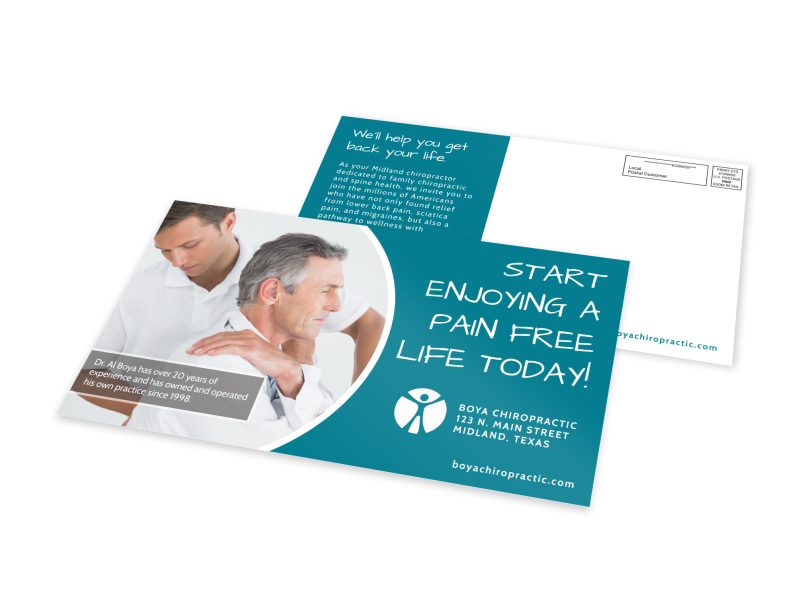Pain Free Chiropractic EDDM Postcard Template