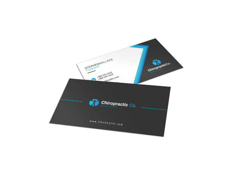 Black Chiropractic Business Card Template Preview 1