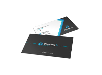 Black Chiropractic Business Card Template preview
