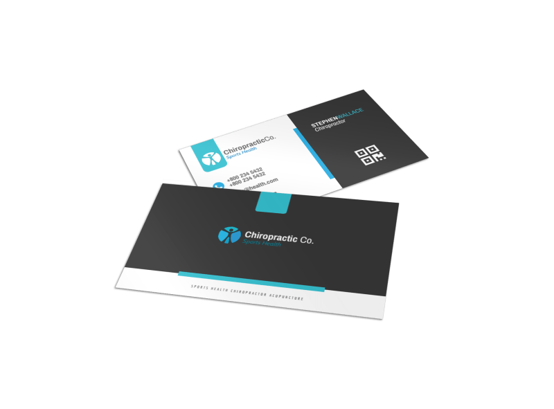 Clean Chiropractic Cards Business Card Template Preview 1