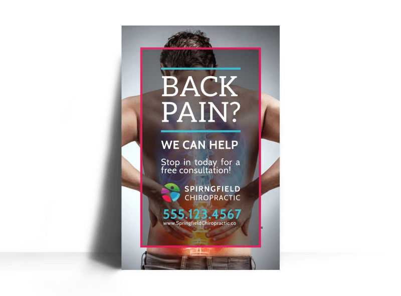 Chiropractic Back Pain Poster Template Preview 1