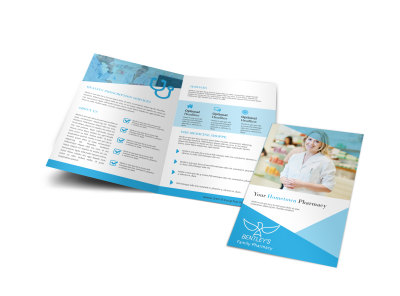 Pharmacy Blue Bi-Fold Brochure Template preview