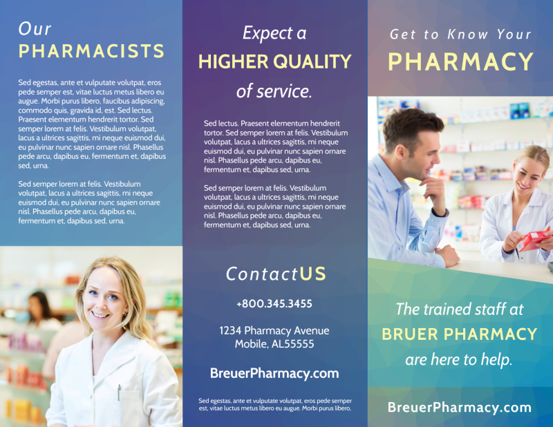 Pharmacy Intro Tri-Fold Brochure Template Preview 2