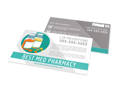 Med Pharmacy EDDM Postcard Template preview