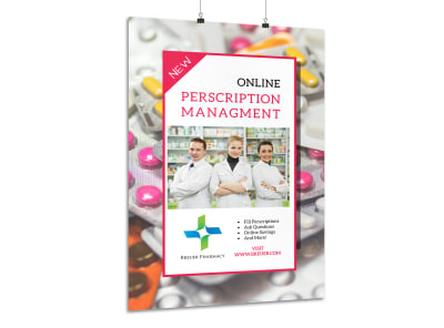 Pharmacy Prescription Management Poster Template preview