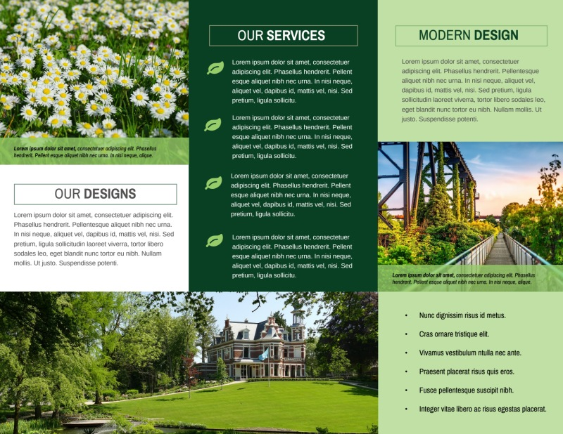 Awesome Outdoor Landscaping Tri-Fold Brochure Template Preview 3