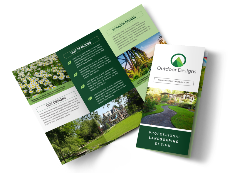 Awesome Outdoor Landscaping Tri-Fold Brochure Template Preview 1