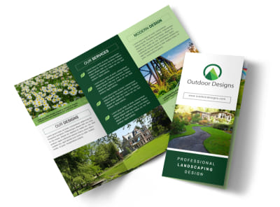 Awesome Outdoor Landscaping Tri-Fold Brochure Template preview