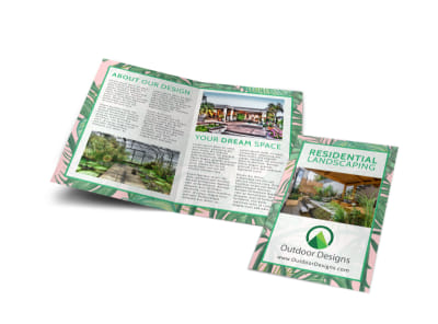 Funky Landscaping Bi-Fold Brochure Template preview