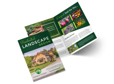 Residential Landscape Design Bi-Fold Brochure Template preview