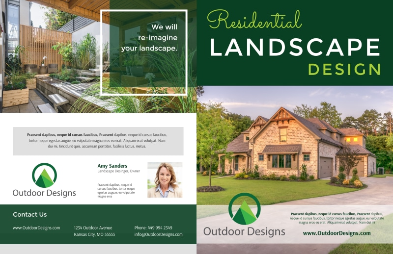 Residential Landscape Design Bi-Fold Brochure Template Preview 2