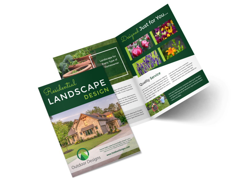 Residential Landscape Design Bi-Fold Brochure Template Preview 1
