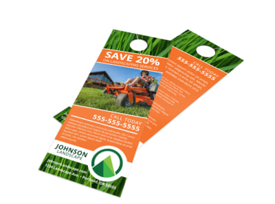 Promo Landscaping Service Door Hanger Template preview