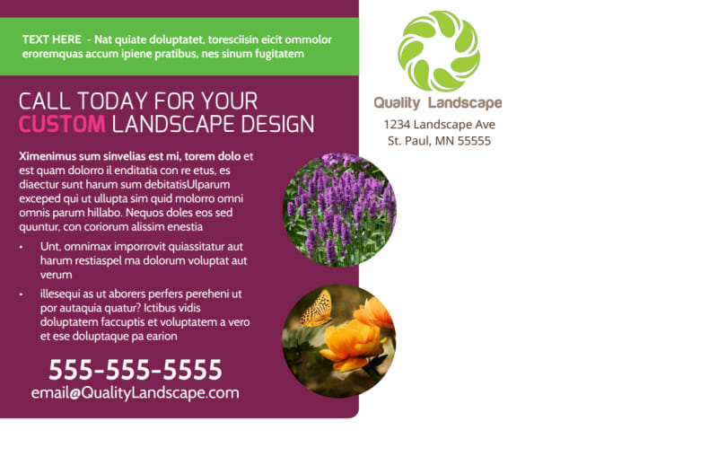 Custom Landscape Design Postcard Template Preview 3