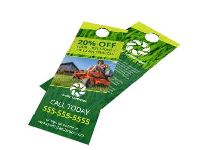 Lawn Service Promo Door Hanger Template preview