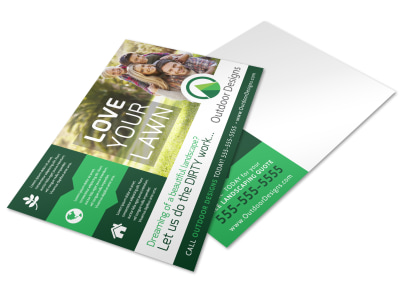 Spring Lawn Care Postcard Template preview