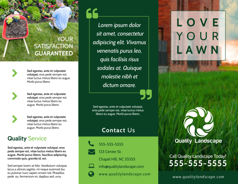 Lawn Care Business Tri-Fold Brochure Template Preview 2