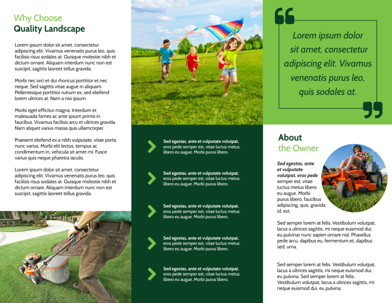 Lawn Care Business Tri-Fold Brochure Template Preview 3