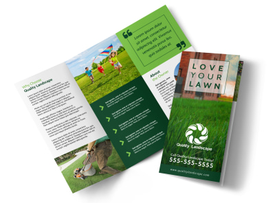 Lawn Care Business Tri-Fold Brochure Template preview