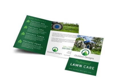 Professional Lawn Care Bi-Fold Brochure Template preview