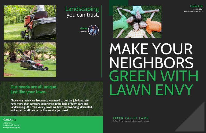 Lawn Care Envy Bi-Fold Brochure Template Preview 2