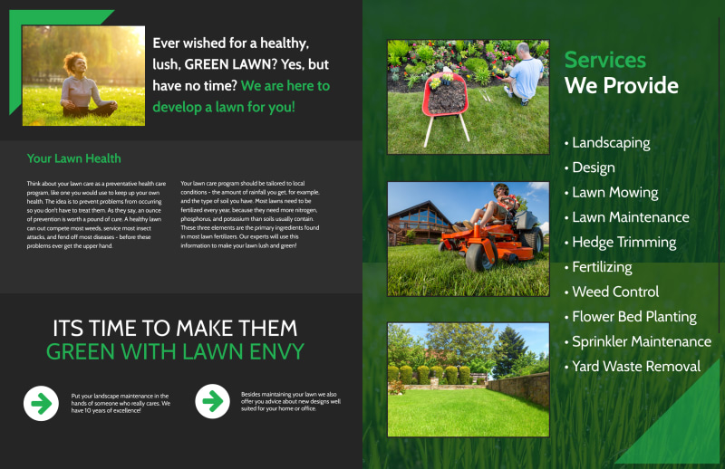 Lawn Care Envy Bi-Fold Brochure Template Preview 3