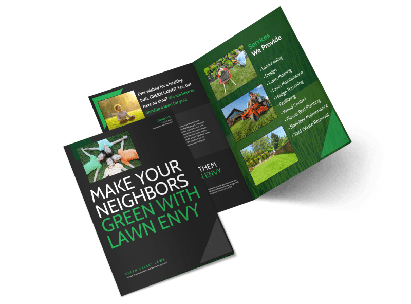 Lawn Care Envy Bi-Fold Brochure Template Preview 1