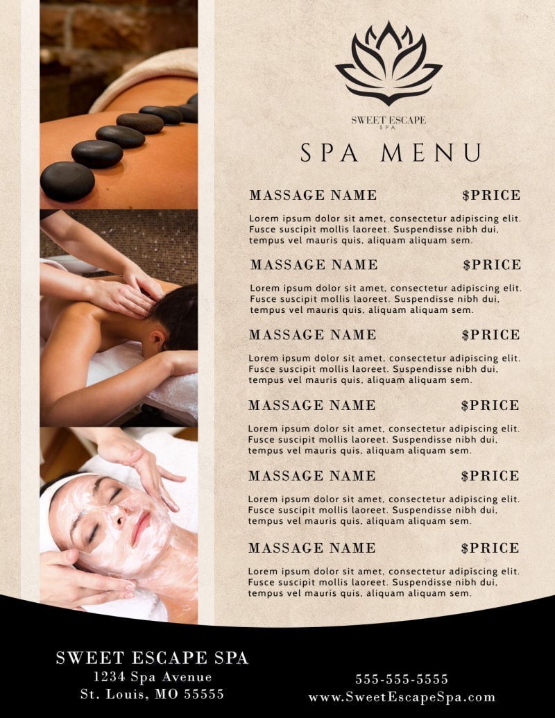 Beautiful Spa Menu Template Preview 2