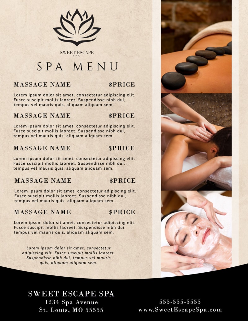 Beautiful Spa Menu Template Preview 3