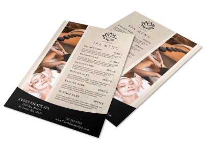 Beautiful Spa Menu Template