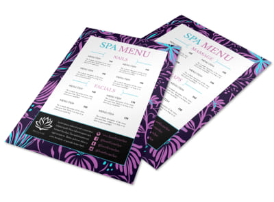 Vibrant Spa Menu Template preview