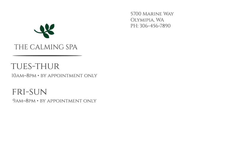 Calm Spa Postcard Template Preview 3