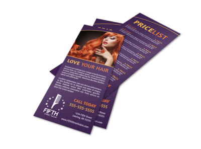 Hair Salon Price Flyer Template preview