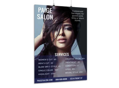 Hair Salon Service Price Poster Template