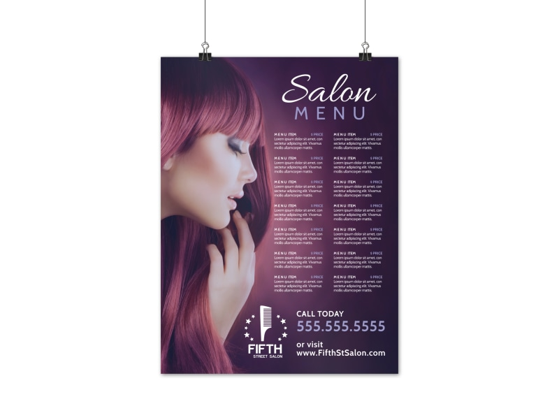 Hair Salon Menu Poster Template Preview 3