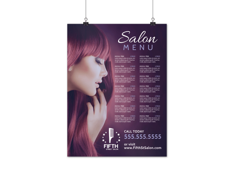 Hair Salon Menu Poster Template Preview 1