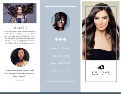 Beautiful Hair Salon Tri-Fold Brochure Template Preview 1