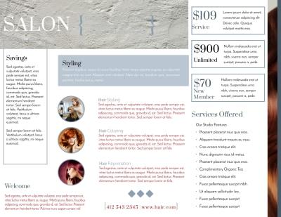 Beautiful Hair Salon Tri-Fold Brochure Template Preview 2