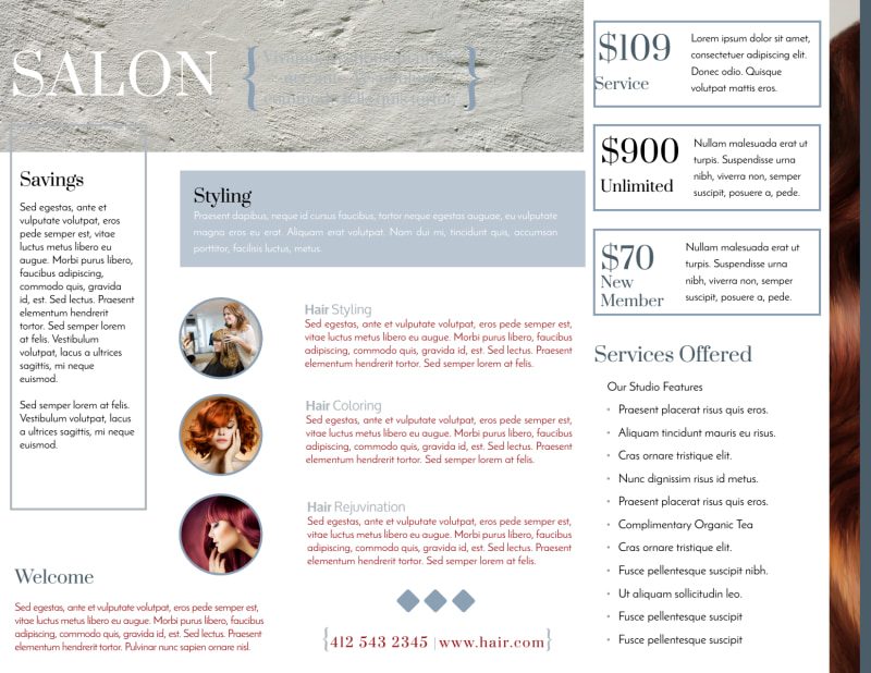 Beautiful Hair Salon Tri-Fold Brochure Template Preview 3