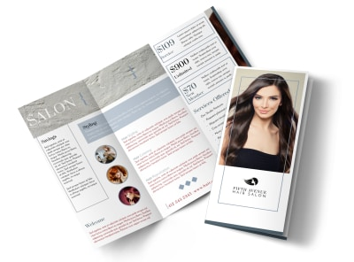 Beautiful Hair Salon Tri-Fold Brochure Template