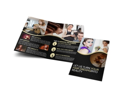 Black Hair Salon Bi-Fold Brochure Template preview