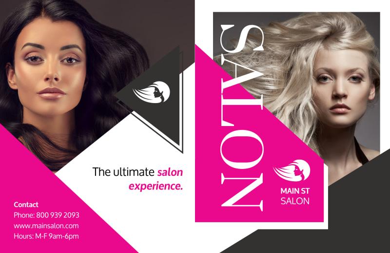 Awesome Hair Salon Bi-Fold Brochure Template Preview 2