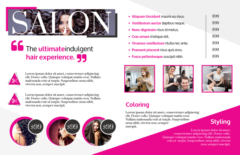 Awesome Hair Salon Bi-Fold Brochure Template Preview 3