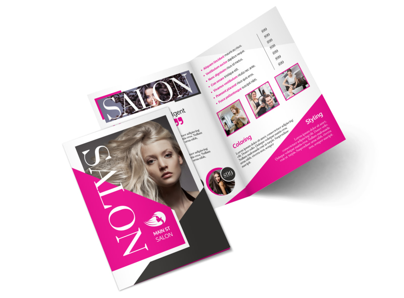 Awesome Hair Salon Bi-Fold Brochure Template