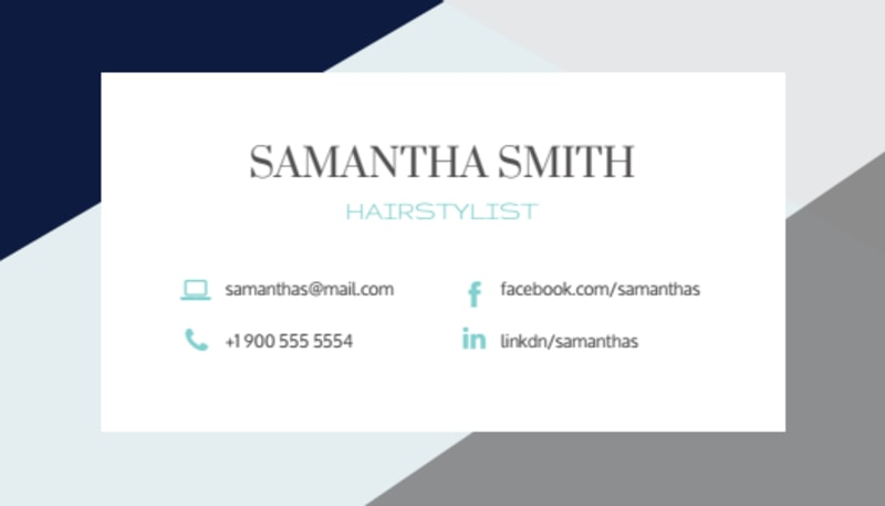 Hair Salon Stylist Business Card Template Preview 3