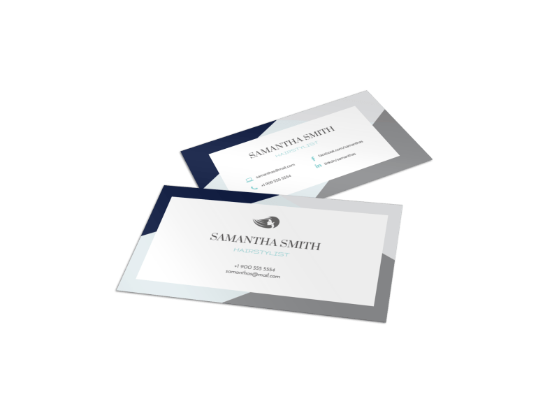 Hair Salon Stylist Business Card Template Preview 1
