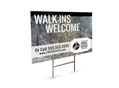 Hair Salon Walk-Ins Yard Sign Template preview