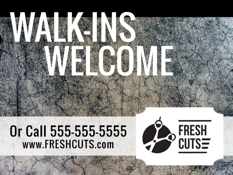 Hair Salon Walk-Ins Yard Sign Template Preview 2