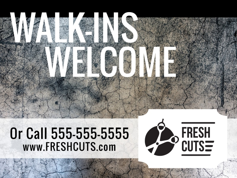 Hair Salon Walk-Ins Yard Sign Template Preview 3