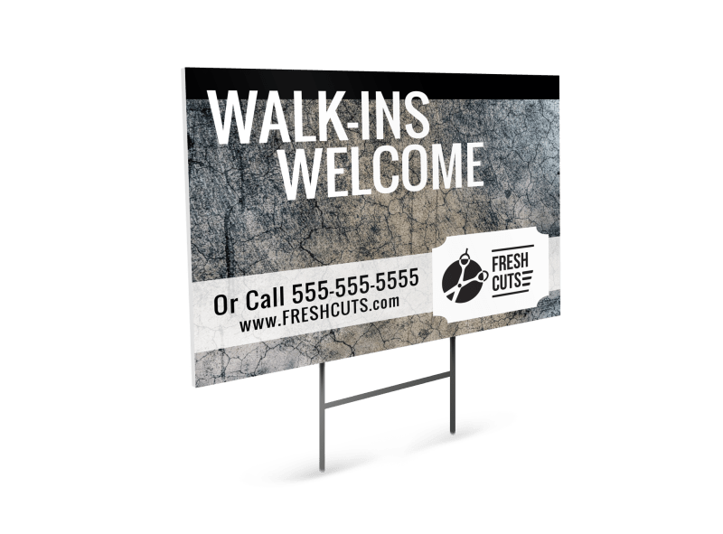 Hair Salon Walk-Ins Yard Sign Template Preview 1